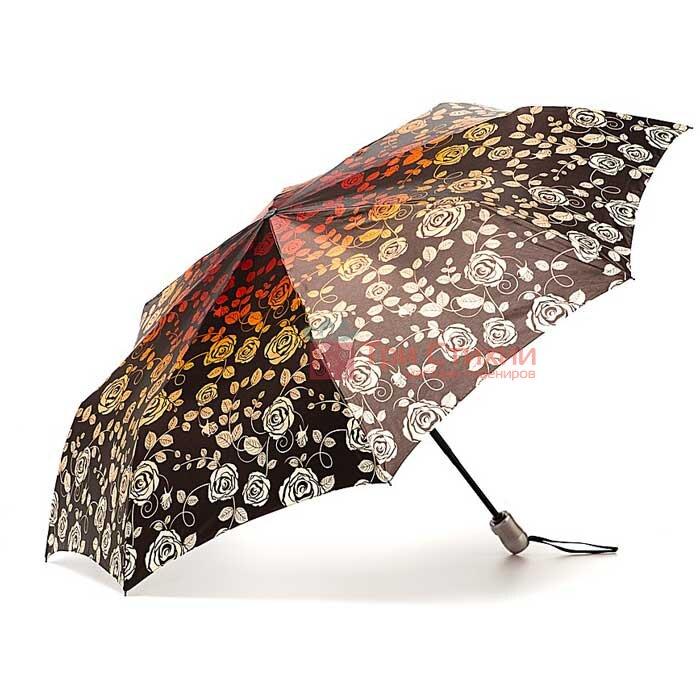 Зонт складной Doppler Satin 74665GFGF18-1 автомат Коричневый Розы, Цвет: Коричневый, фото