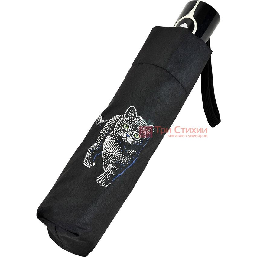 Парасолька складана з котами Doppler 7441465C01 автомат Чорна, фото 5
