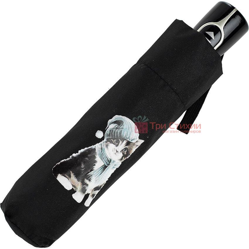 Парасолька складана з котами Doppler 7441465C03 автомат Чорна, фото 5