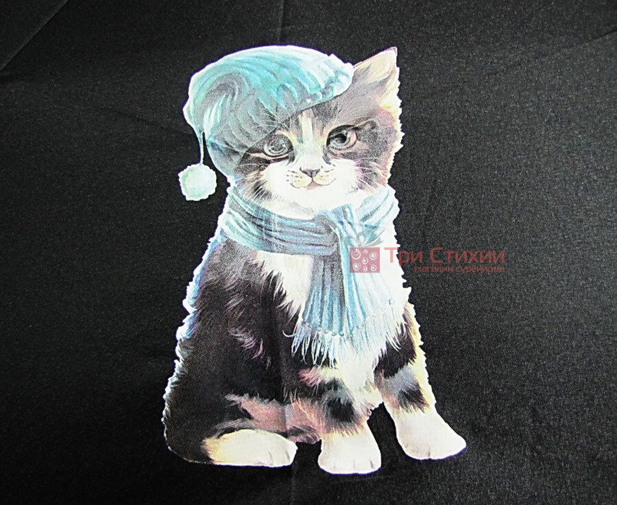 Парасолька складана з котами Doppler 7441465C03 автомат Чорна, фото 3