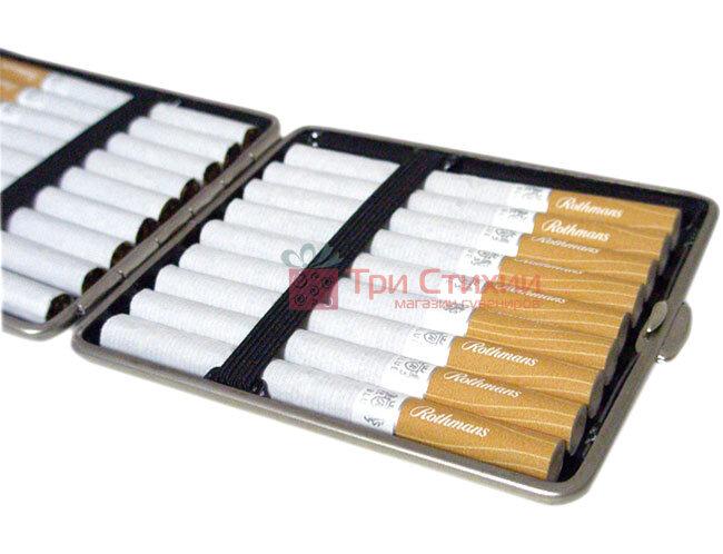 Портсигар VH 901208 для 18 KS сигарет шкіра Бордовий, фото 3