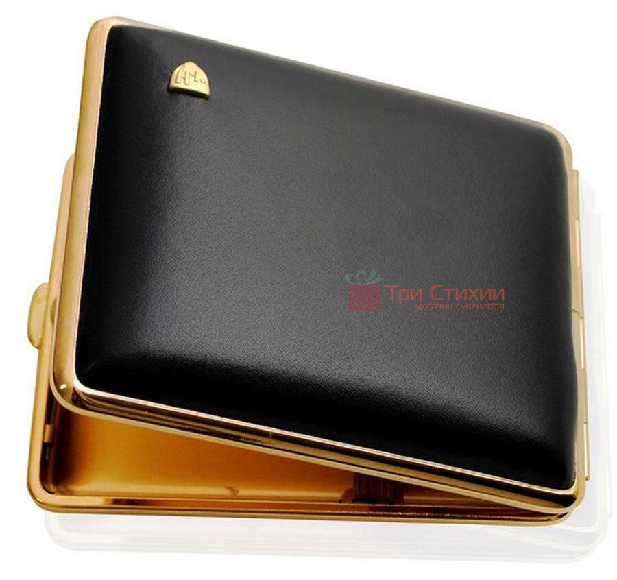 Портсигар VH 901101 для 18 KS сигарет кожа Черный, Цвет: Черный, фото