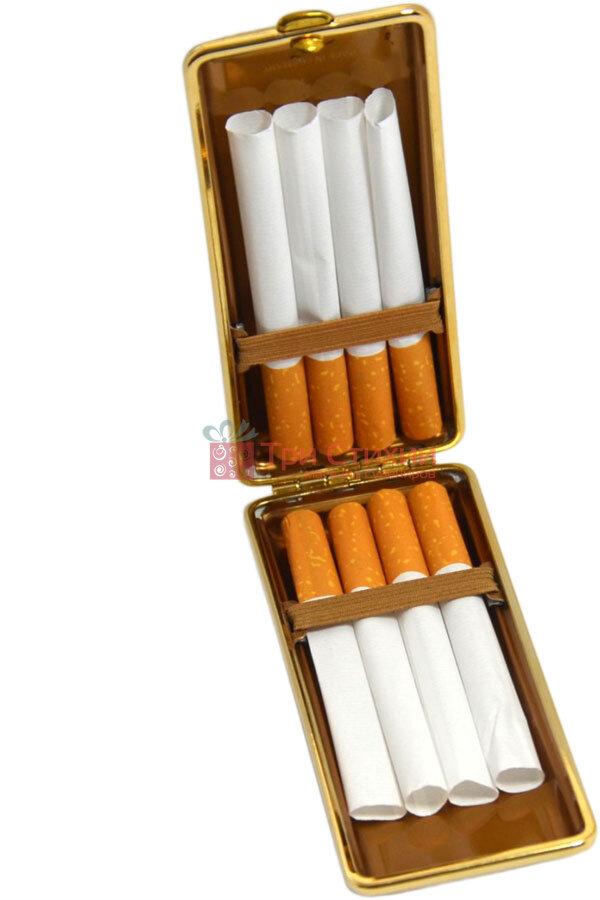 Портсигар VH 904101 для 8 KS/12 слим сигарет кожа Черный, Колір: Червоний, фото 6