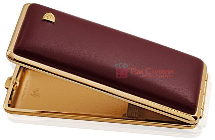 Портсигар VH 904108 для 8 KS / 12 Super KS сигарет шкіряний Бордовий, фото