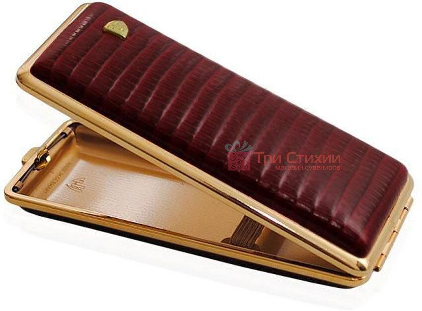 Портсигар VH 904138 для 8 KS / 12 Super KS сигарет шкіра (Eid) Бордовий, Колір: Бордовий, фото