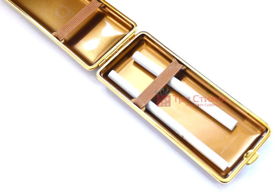 Портсигар VH 904264 для 8 KS/12 Super KS сигарет кожа Золотистый, Цвет: Золотистый, фото 3