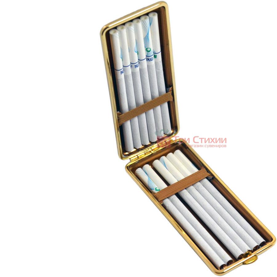Портсигар VH 904264 для 8 KS/12 Super KS сигарет кожа Золотистый, Цвет: Золотистый, фото 4