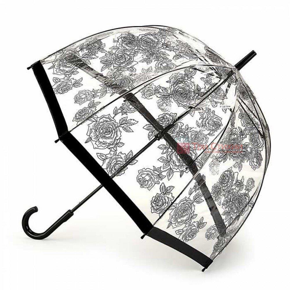 Зонт-трость женский Fulton Birdcage-2 L042 Black Rose (Черная роза), фото