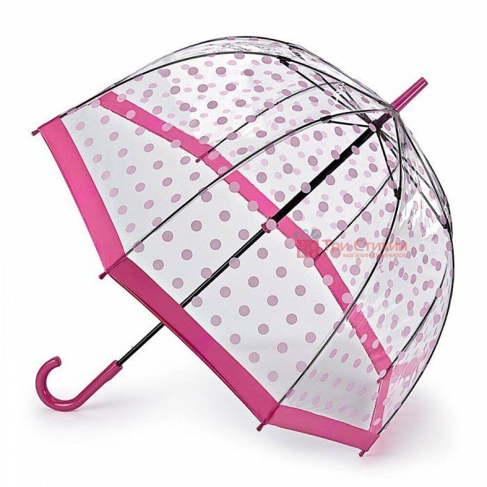 Парасолька-тростина жіноча Fulton Birdcage-2 L042 Pink Polka (Рожевий горох), фото