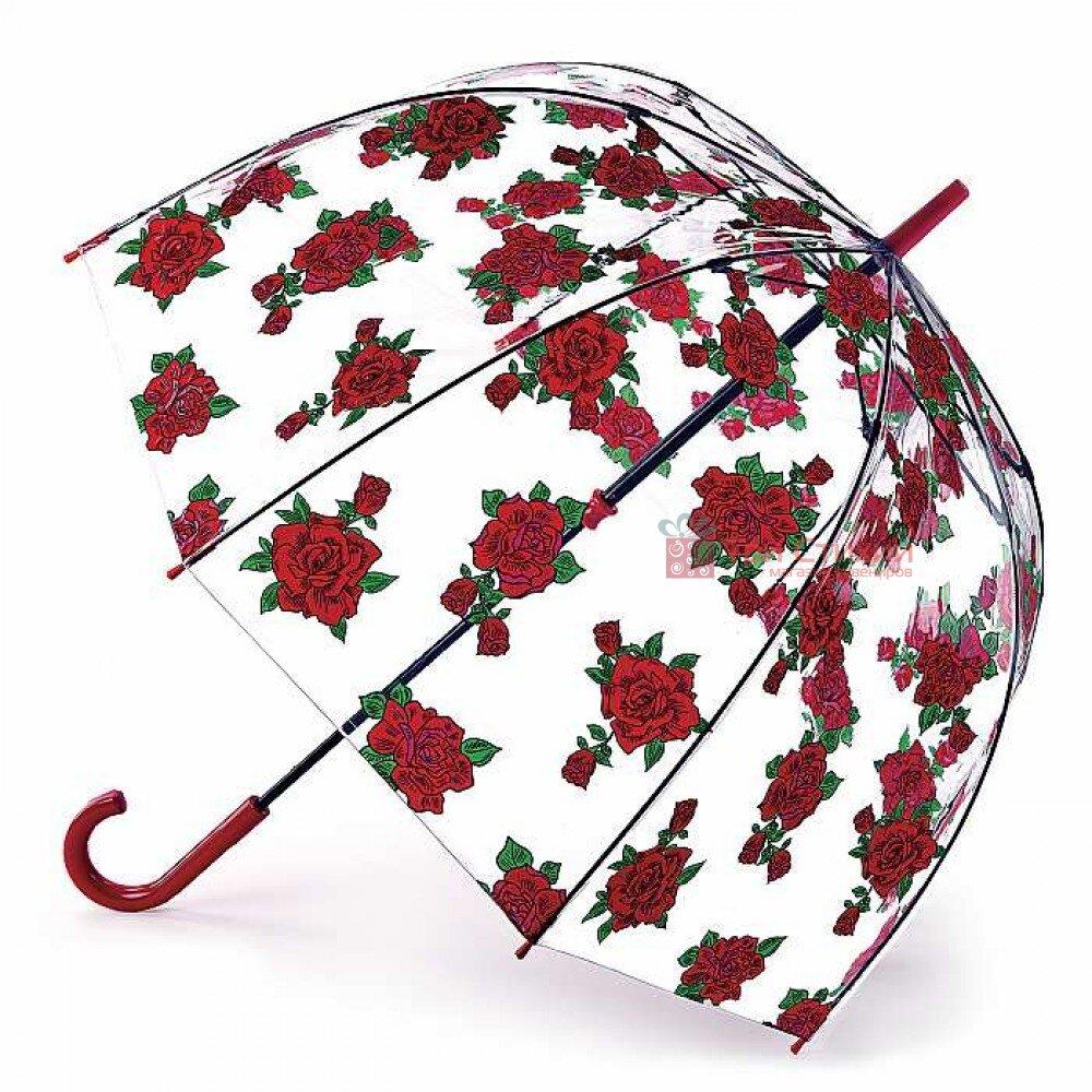 Парасолька-тростина жіноча Fulton L042 Birdcage-2 Tattoo Rose (Тату з троянд), фото