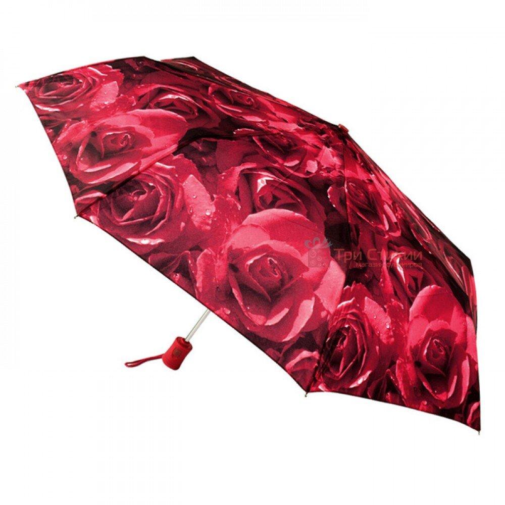 Парасолька жіноча Fulton Open & Close-4 L346 Photo Rose Red (Червоні троянди), фото
