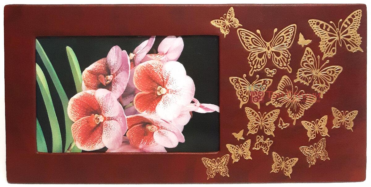 Рамка для фото Макей кожаная Полет бабочки (519-08-01), Цвет: Бордовый, фото