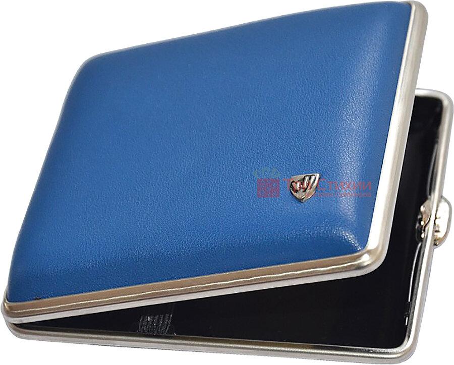 Портсигар VH 901 254 для 18 KS / 24 слім сигарет Синій шкіра Сalypso, Колір: Синій, фото