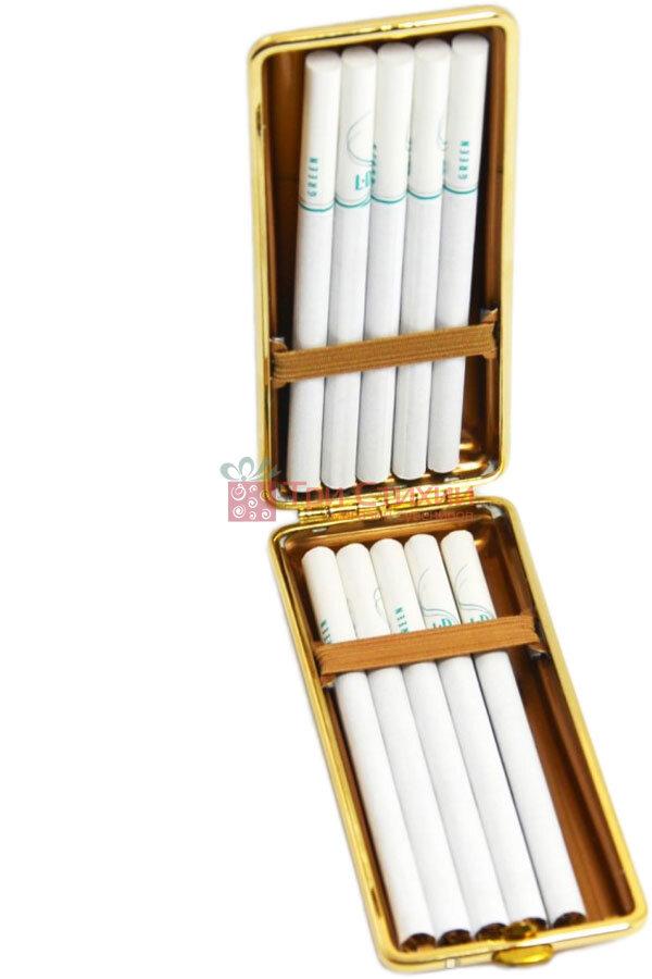 Портсигар VH 904301 для 8 KS / 12 слім сигарет шкіра Чорний, фото 5