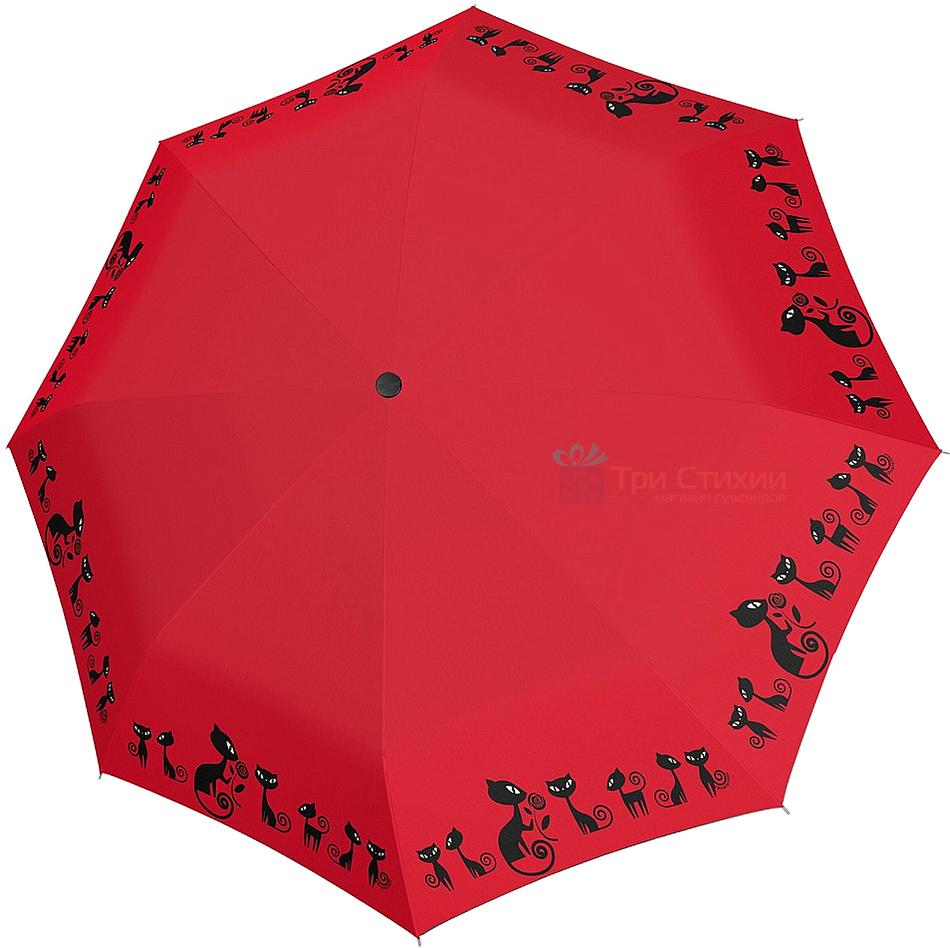 Зонт складной с котами Doppler 7441465CO2 автомат Красный, фото