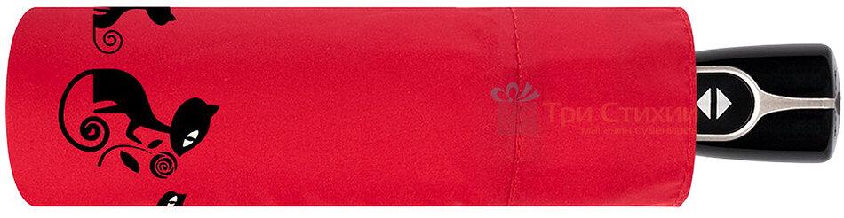 Зонт складной с котами Doppler 7441465CO2 автомат Красный, фото 2