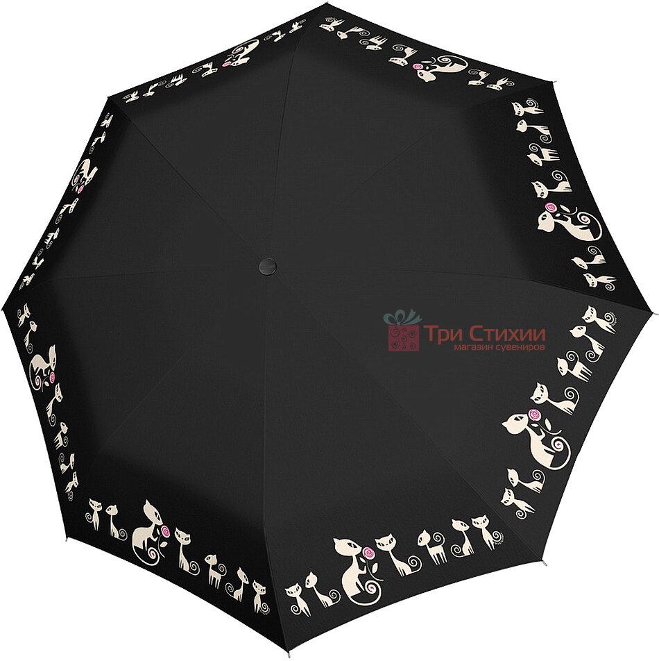 Зонт складной с котами Doppler 7441465CO3 автомат Черный, фото