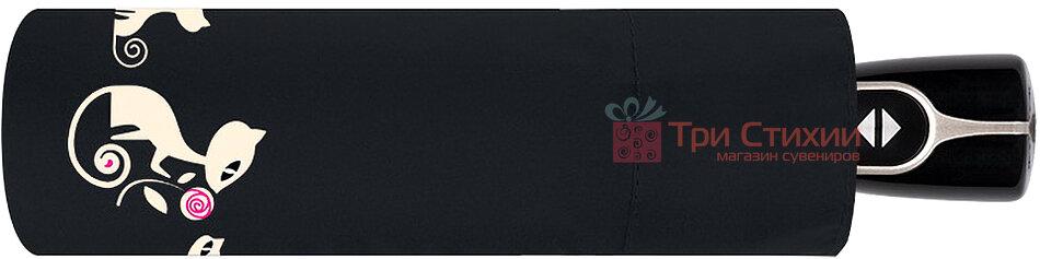 Зонт складной с котами Doppler 7441465CO3 автомат Черный, фото 2