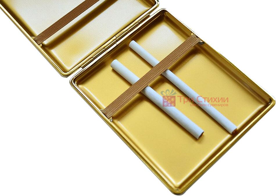 Портсигар VH 905101 для 22 KS / 26 слім сигарет шкіра Чорний, фото 3