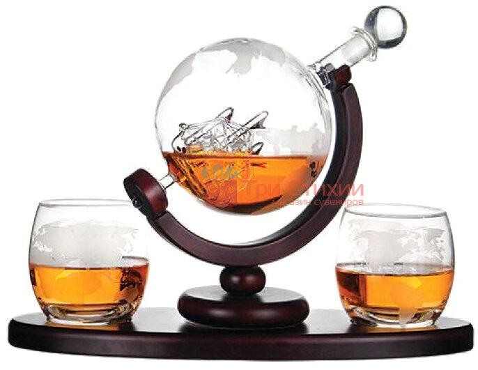"""Набор для виски BST """"Навколо Світу"""" Штоф 850 мл и 2 стакана """"Навколо Світу"""" (640014), фото 4"""