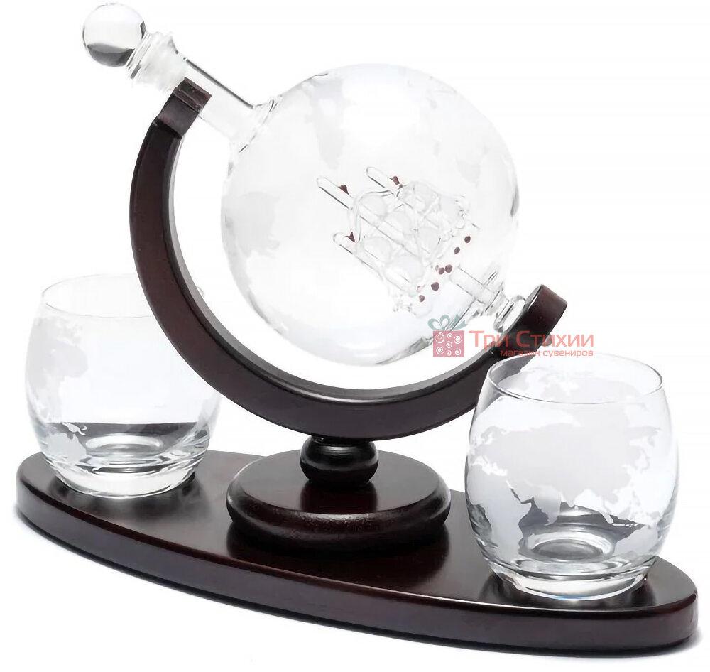 """Набір для віскі BST """"Навколо Світу"""" Штоф 850 мл і 2 склянки """"Навколо Світу"""" (640014), фото 2"""
