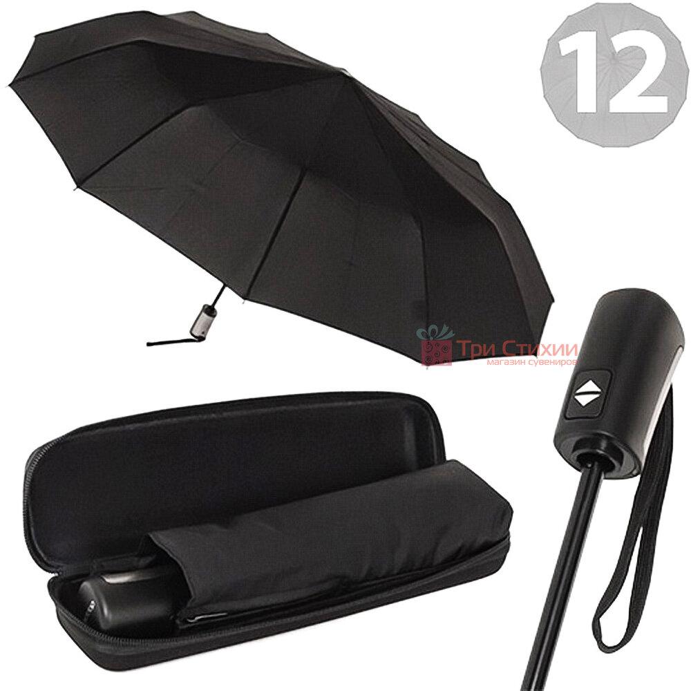 Зонт с кейсом складной Doppler 12 спиц 746863DSZC полный автомат Черный, фото 6