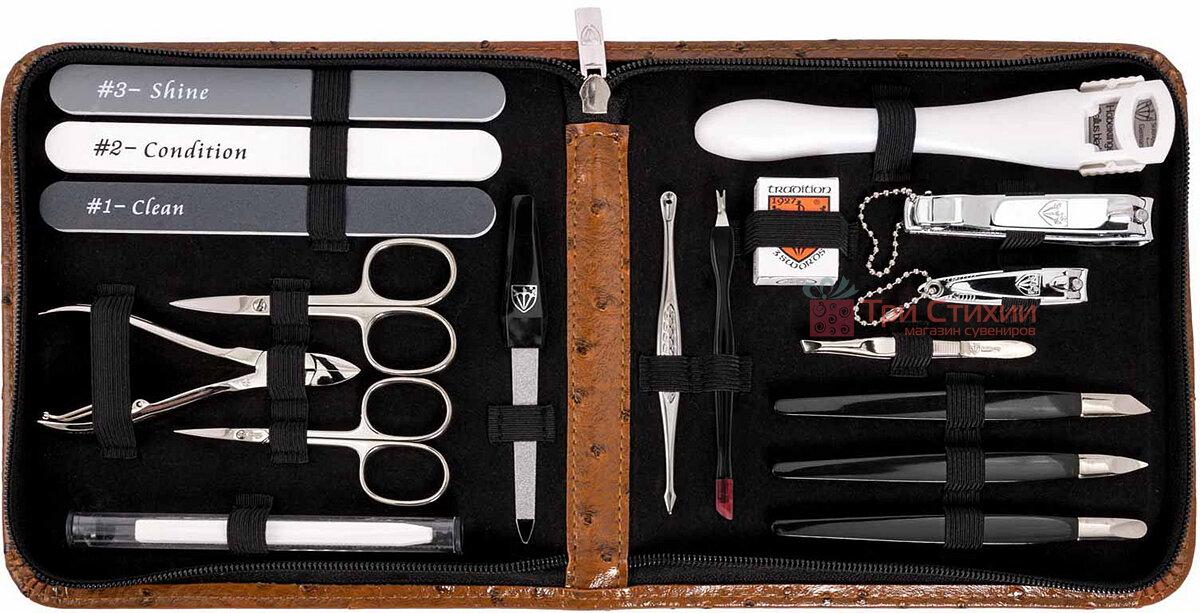 Манікюрний набір Kellermann 18 предметів 5731MCN CUT Коньяк, фото