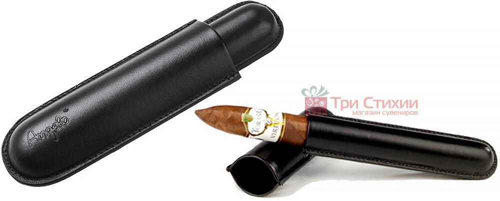 Футляр Angelo экокожа для 1 сигары 16 см, диаметр 2,3 см (81100) Черный, фото