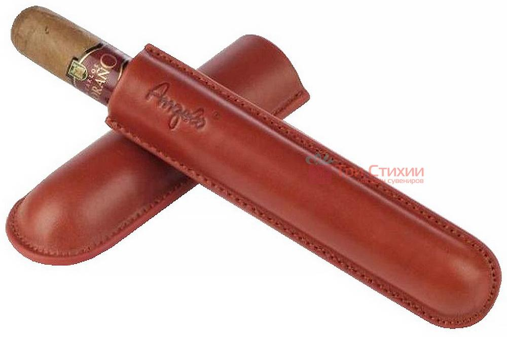 Футляр Angelo кожаный для 1 сигары 15 см, диаметр 1,3 см (81101) Коричневый, фото