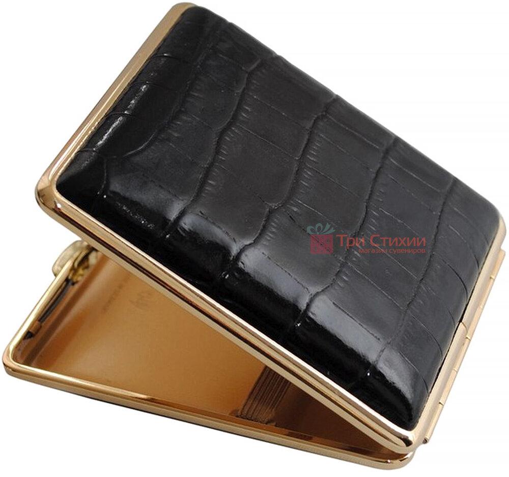 Портсигар VH 901141 для 18 KS/24 слим сигарет, кожа Dino черная, Цвет: Черный, фото