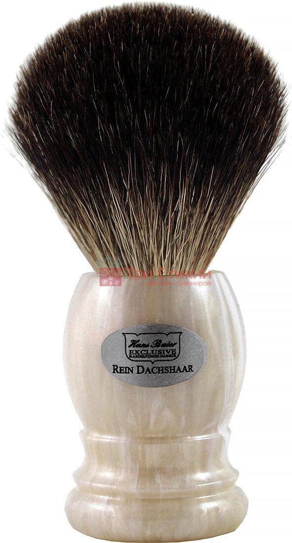 Помазок борсук для гоління Hans Baier 51121 Білий мармур, фото