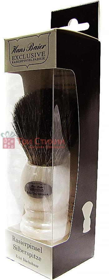 Помазок борсук для гоління Hans Baier 51121 Білий мармур, фото 2