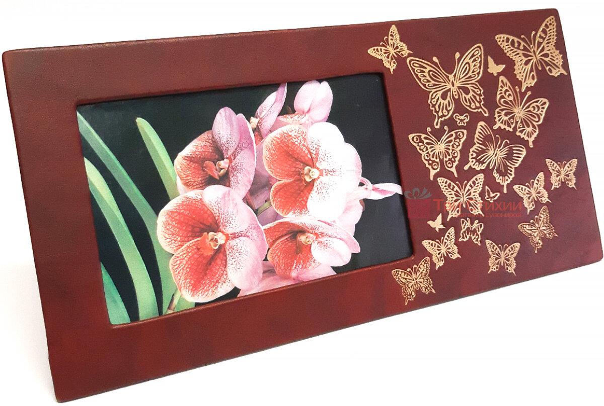 Рамка для фото Макей кожаная Полет бабочки (519-08-01), Цвет: Бордовый, фото 2