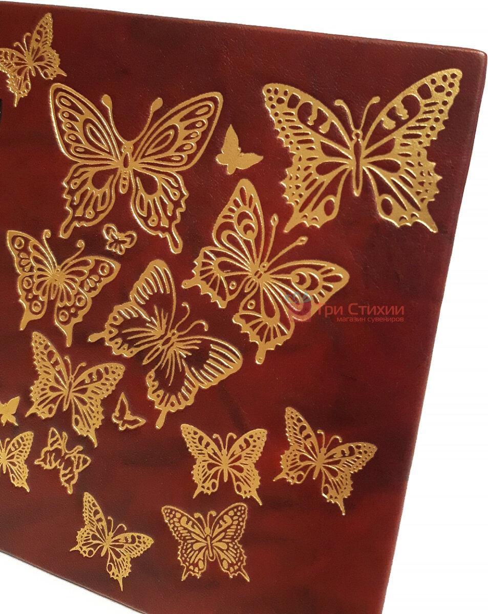 Рамка для фото Макей шкіряна Політ метелика (519-08-01), Колір: Бордовий, фото 3