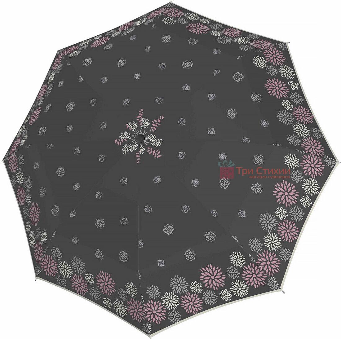 Зонт складной Doppler 7301652902-1 полуавтомат Серые цветы, Цвет: Серый, фото