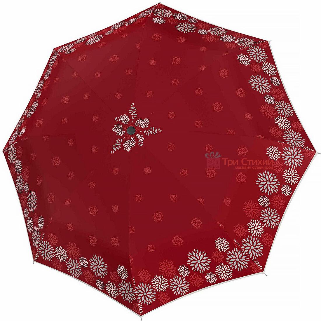 Зонт складной Doppler 7301652903-1 полуавтомат Красные цветы, Цвет: Красный, фото