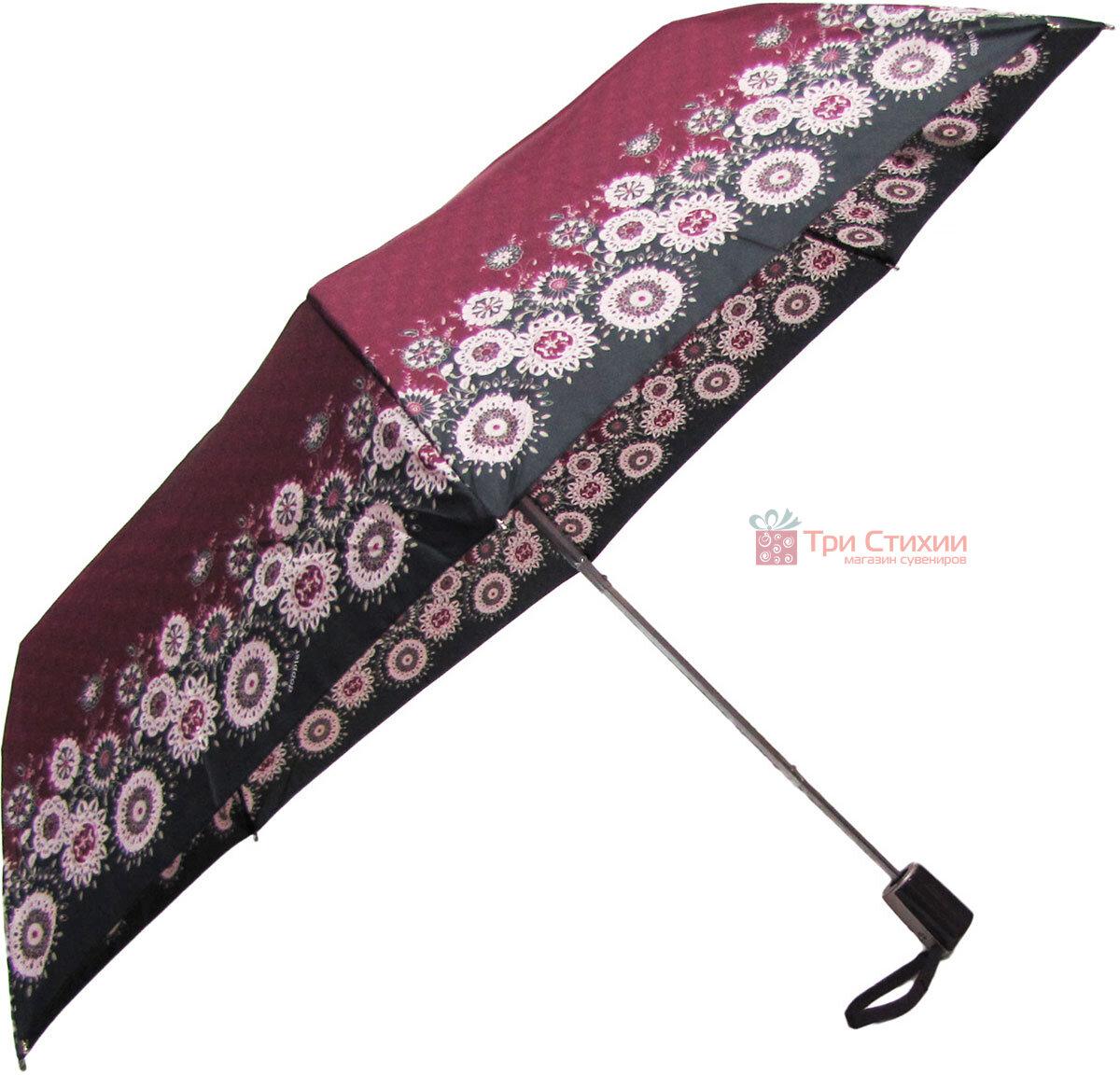 Зонт складной Doppler 7301653003-2 полуавтомат Бордовый Узор, фото 3