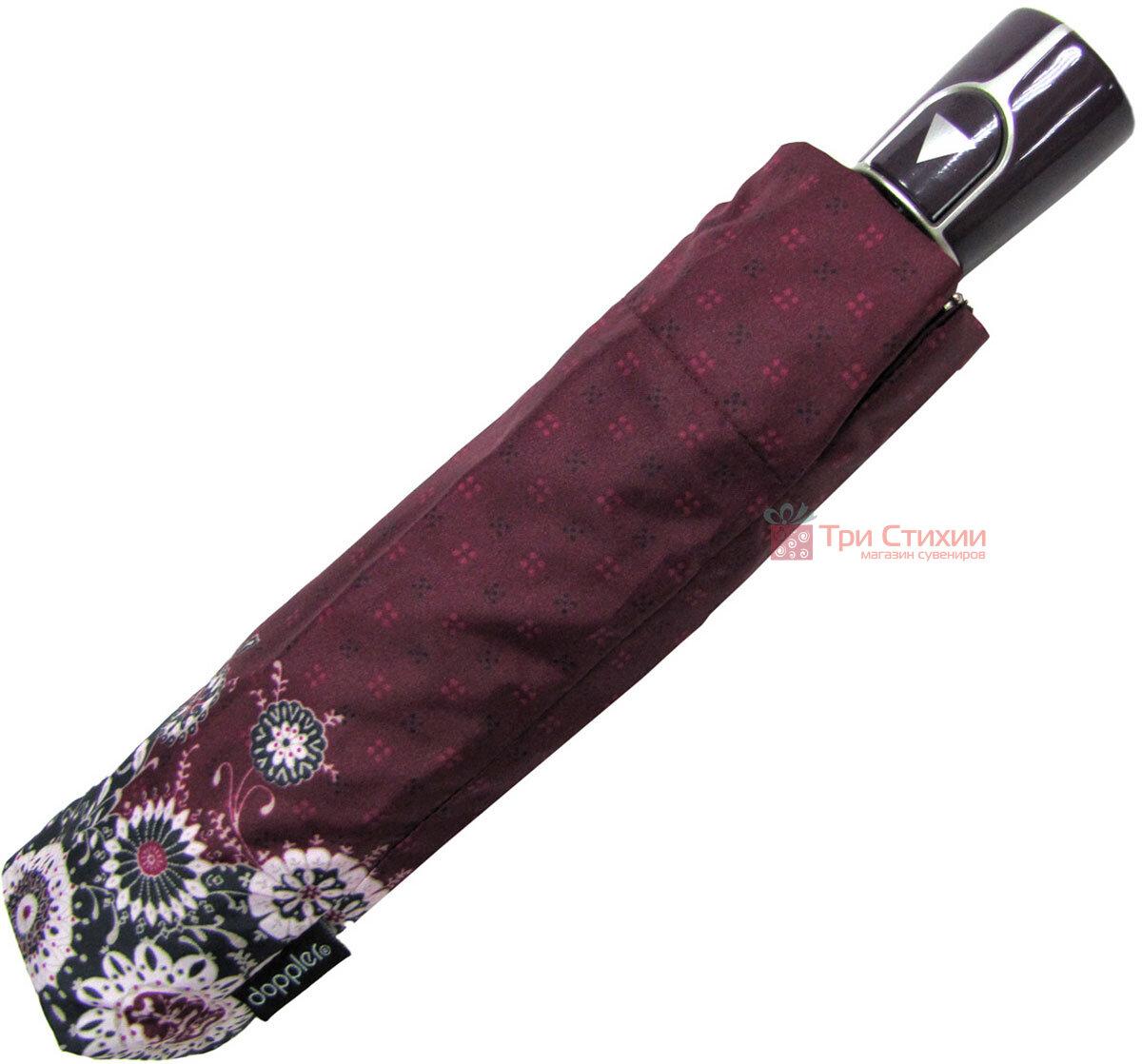 Зонт складной Doppler 7301653003-2 полуавтомат Бордовый Узор, фото 5
