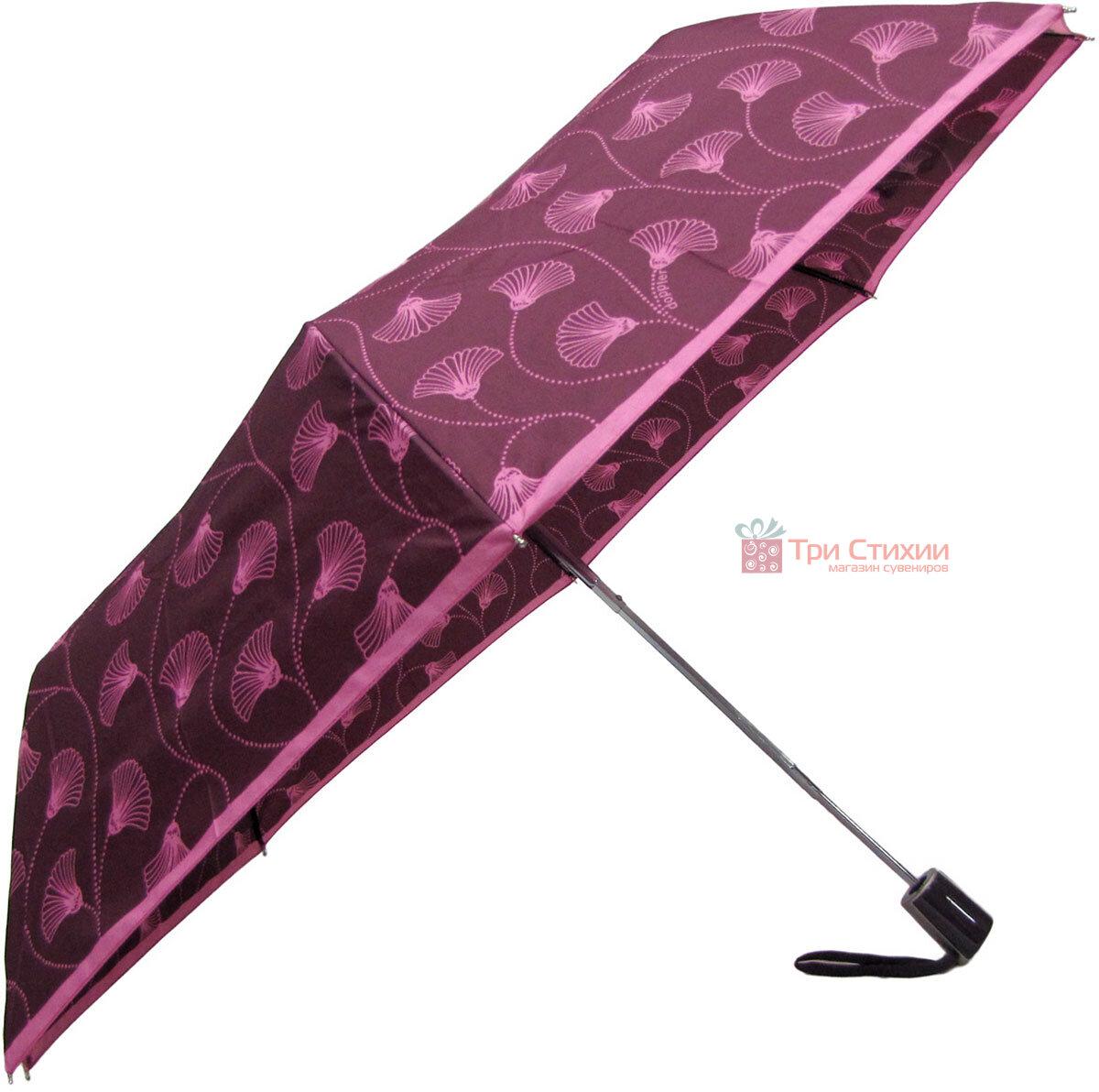 Зонт складной Doppler 7301653003-3 полуавтомат Бордовый Цветы, фото 3