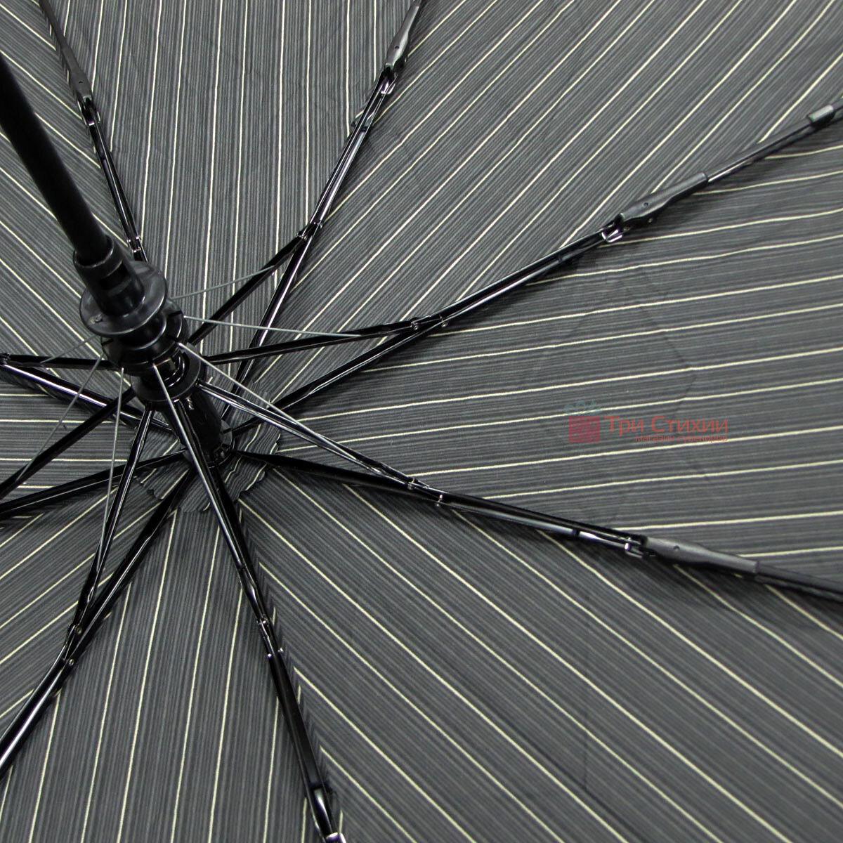 Парасоля складана Doppler Carbon 730167-4 напівавтомат Сіра в дрібну смужку, фото 4