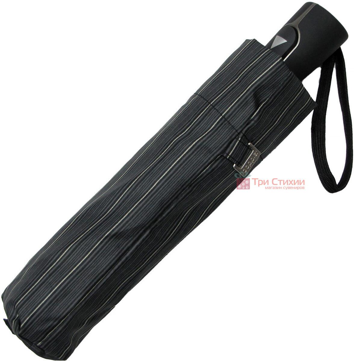 Парасоля складана Doppler Carbon 730167-4 напівавтомат Сіра в дрібну смужку, фото 5