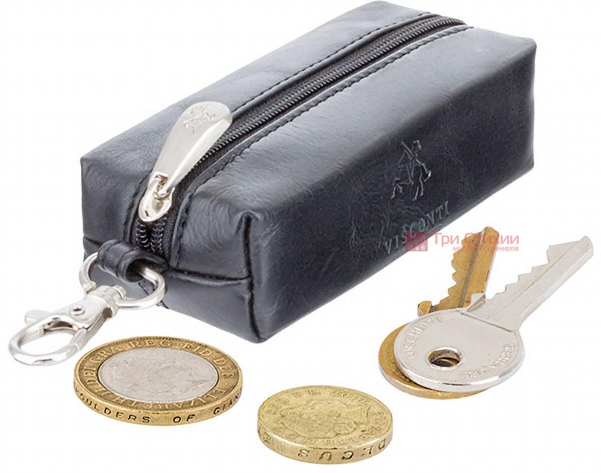 Ключниця Visconti MZ18 Prato (Italian Black) шкіряна Чорна, фото 4
