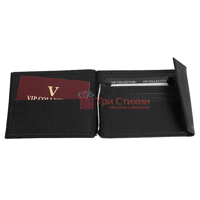 Зажим для денег мужской кожаный Vip Collection 003A flat Черный, фото 2