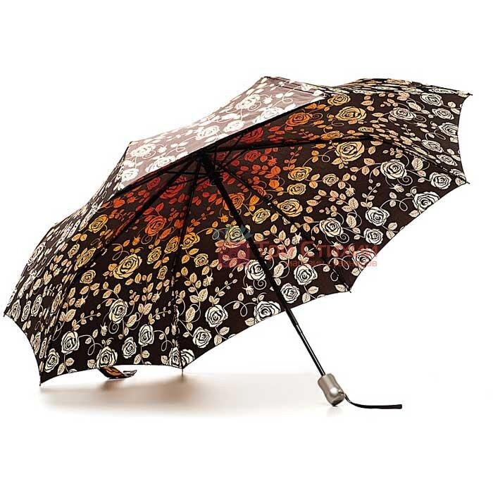 Зонт складной Doppler Satin 74665GFGF18-1 автомат Коричневый Розы, Цвет: Коричневый, фото 2