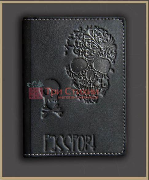 Обложка для паспорта кожаная Черепок 809-50-07, фото