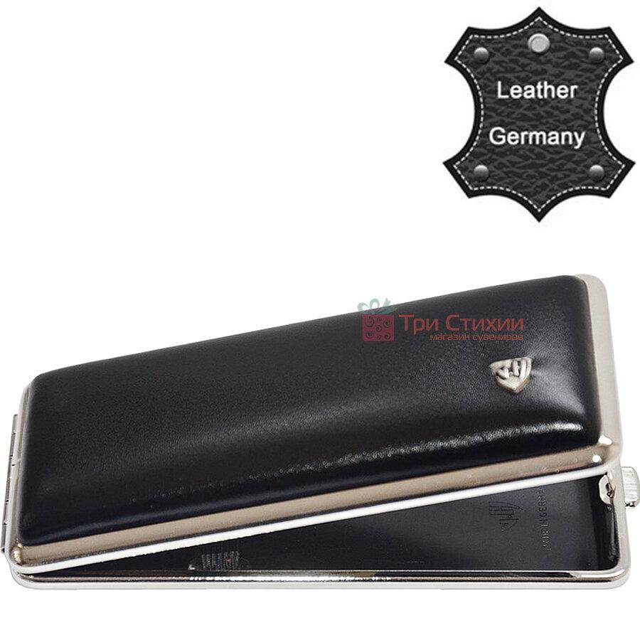 Портсигар VH 904301 для 8 KS / 12 слім сигарет шкіра Чорний, фото 2