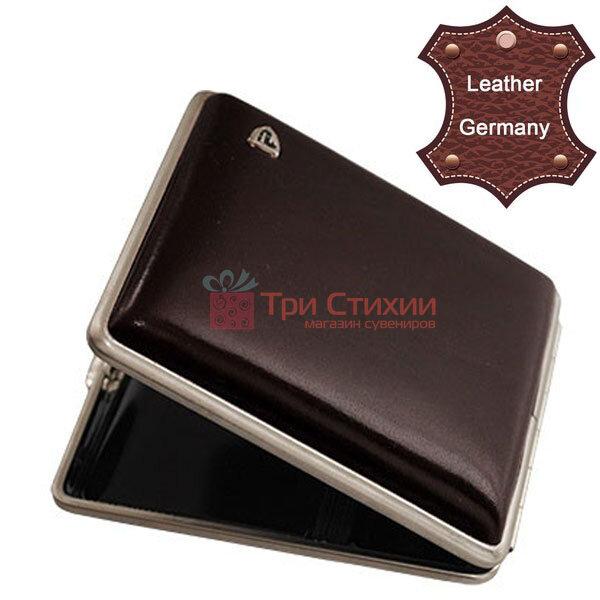 Портсигар VH 901229 для 18 KS/24 слим сигарет, кожа гладкая Коричневый, Цвет: Коричневый, фото