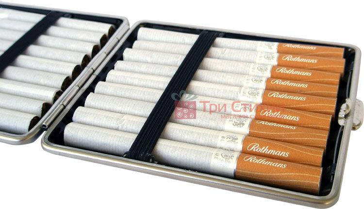 Портсигар VH 901229 для 18 KS / 24 слім сигарет, шкіра гладенька Коричневий, Колір: Коричневий, фото 2