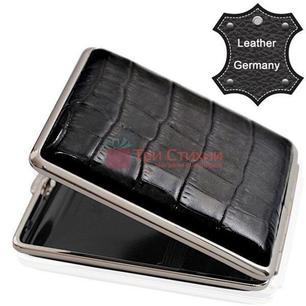 Портсигар VH 901341 для 18 KS сигарет кожа Dino Черный, фото