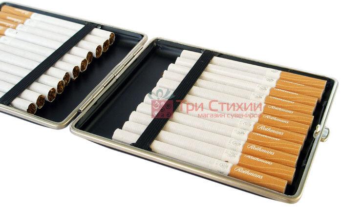 Портсигар VH 903201 для 22 Super KS слим сигарет, шкіра чорна, фото 2
